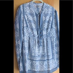 Prana blue and white print blouse with tie